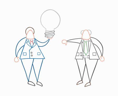 Handgezeichnete Vektor-Illustration Geschäftsmann Arbeiter mit grauer Glühbirne, hat eine schlechte Idee und Chef zeigt Daumen nach unten. Weiße und farbige Umrisse.