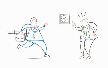 Hand-drawn vector illustration businessman worker late for work and angry boss shows him what time is it. White colored and colored outlines.