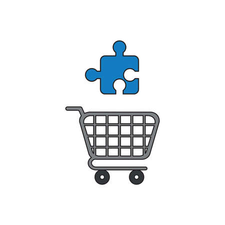 Vector icon concept of blue puzzle jigsaw piece over grey shopping cart.