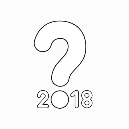 Vector icon concept of year of 2018 with question mark. Black outlines. Illustration