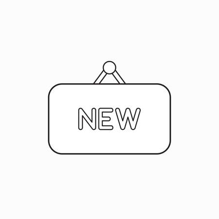 Vector icon concept of new word written on hanging sign. Black outlines. Stockfoto - 122400353