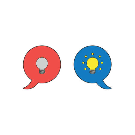 Vector icon concept of two speech bubbles with grey and glowing yellow light bulbs.