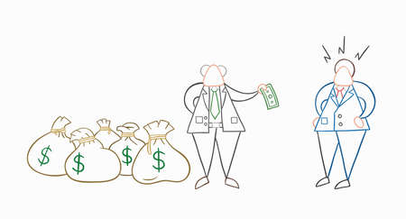 Hand-drawn vector illustration boss has a lot of money with sacks and pays one money to his businessman worker. White colored and colored outlines.