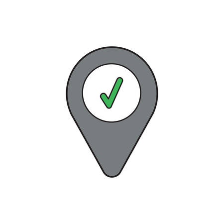 Vector icon concept of green check mark inside map pointer.