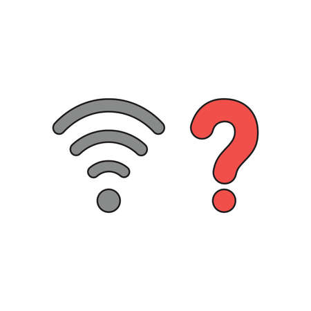 Vector icon concept of grey wireless wifi symbol with red question mark. Illustration