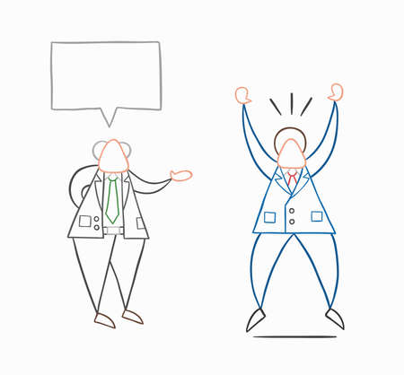 Hand-drawn vector illustration boss gives good news to businessman worker and he is very happy. White colored and colored outlines. Çizim