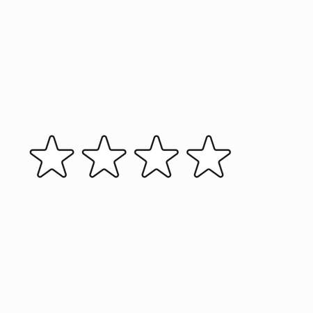 Vector icon concept of giving four stars. Black outlines. Stock Illustratie