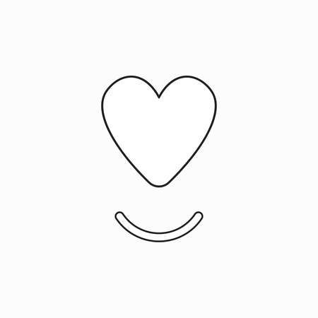 Vector icon concept of heart with smiling mouth. Black outlines.