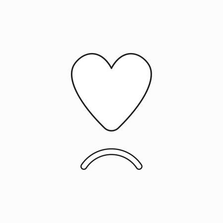 Vector icon concept of heart with sulking mouth. Black outlines. Illustration