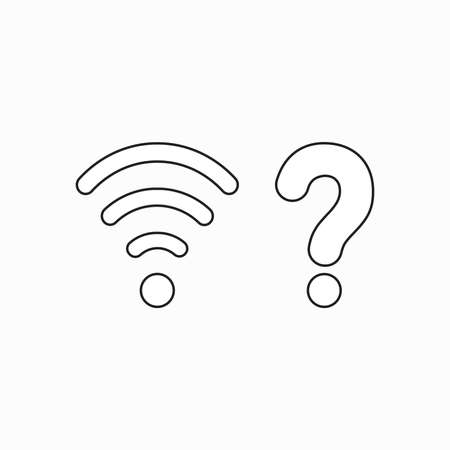Vector icon concept of wireless wifi symbol with question mark. Black outlines.