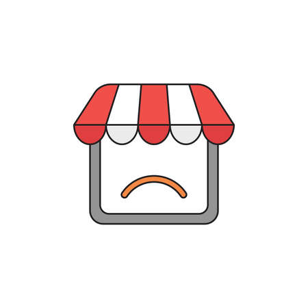 Vector icon concept of shop store with sulking mouth.  Illustration