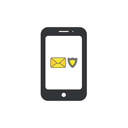 Vector icon concept of closed envelope with shield guard inside black smartphone.