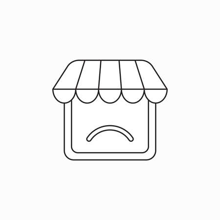 Vector icon concept of shop with sulking mouth. Black outlines. Illustration