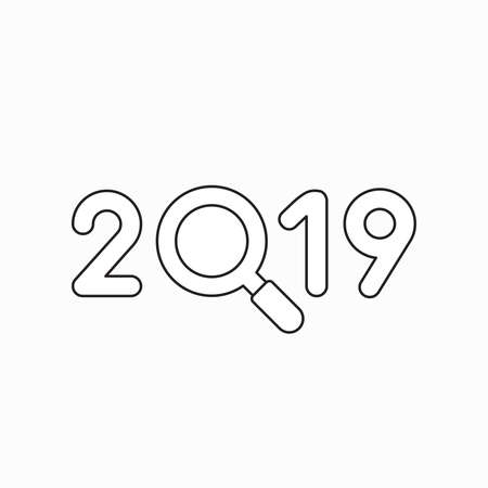 Vector icon concept of 2019 with magnifying glass. Black outlines.