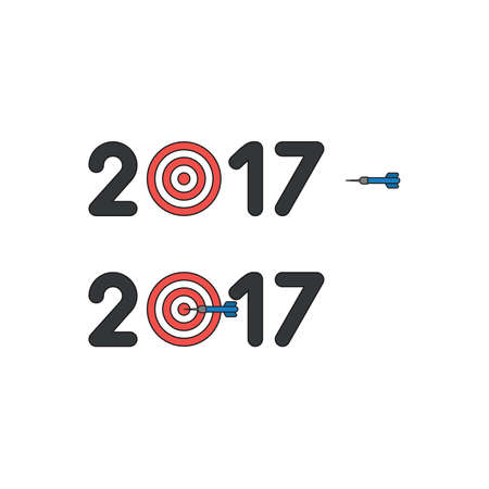 Vector icon concept of year of 2017 with bulls eye and dart in the center.