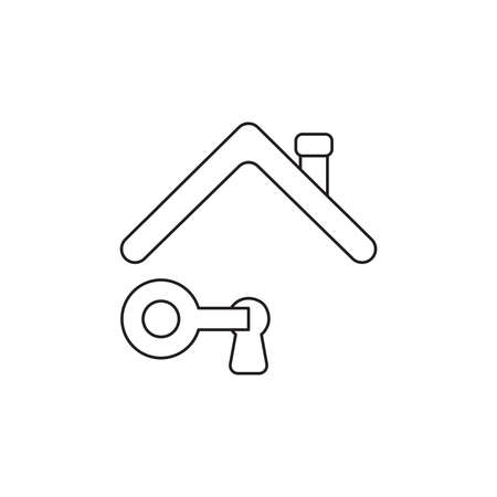 Vector icon concept of key unlock keyhole under roof. Black outlines.