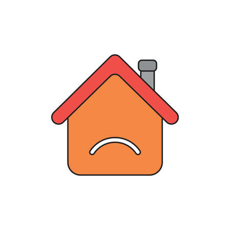 Vector illustration icon concept of orange house with sulking mouth. Black outlines and colored.