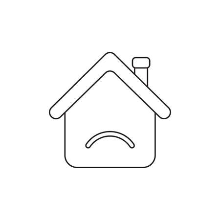 Vector illustration icon concept of house with sulking mouth. Black outlines.
