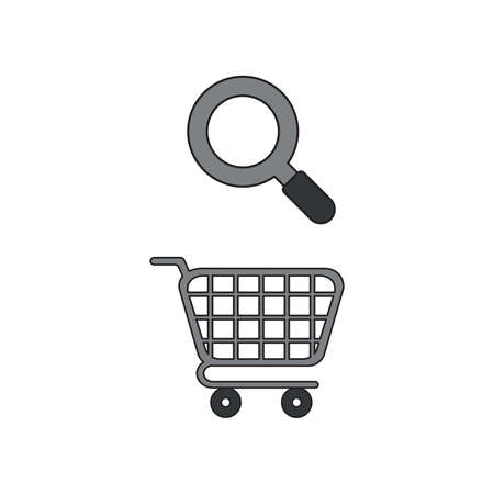 Vector icon concept of shopping cart with magnifying glass. Black outlines and colored.