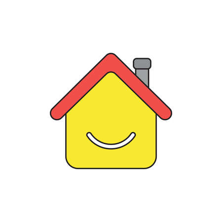 Vector icon concept of yellow house with smiling mouth. Black outlines and colored.