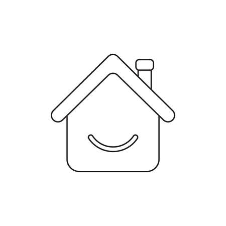 Vector icon concept of house with smiling mouth. Black outlines.