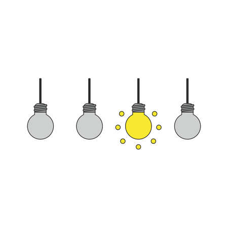 Vector icon concept of three grey light bulbs and one glowing light bulb idea. Black outlines and colored.