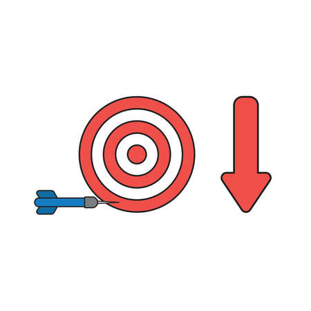 Vector icon concept of bulls eye and dart miss the target with arrow moving down. Black outlines and colored. Illustration