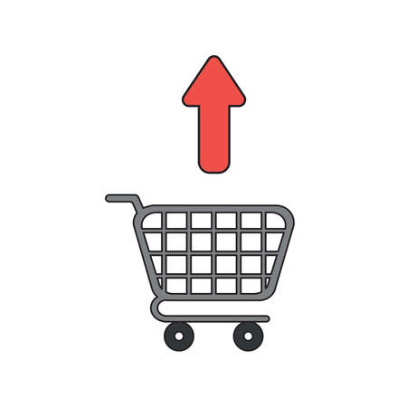 Vector icon concept of green arrow moving up shopping cart. Black outlines and colored.