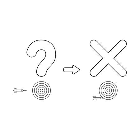 Vector icon concept of question mark and x mark with bulls eye and dart miss the target. Black outlines.