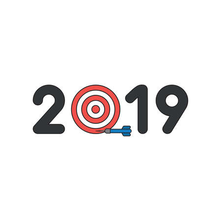 Vector icon concept of year of 2019 with bulls eye and dart miss the target. Black outlines and colored.