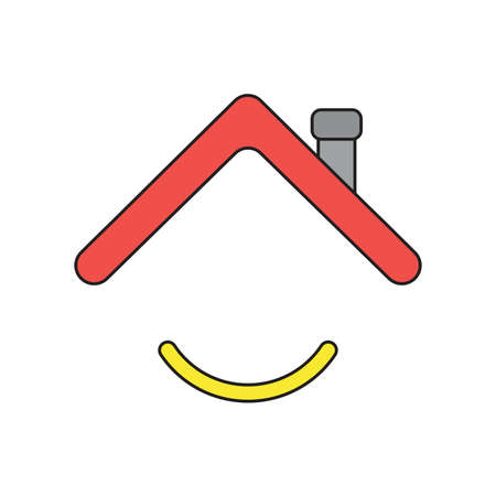 Vector icon concept of house roof with smiling mouth. Black outlines and colored.
