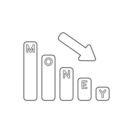 Vector icon concept of money bar graph moving down. Black outlines. Illustration