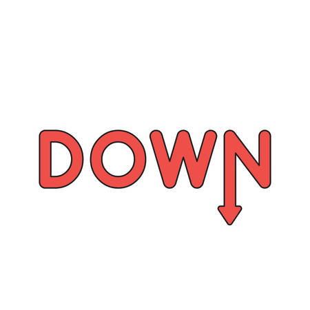 Vector icon concept of red down word with arrow moving down. Black outlines and colored.