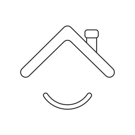 Vector icon concept of roof with smiling mouth. Black outlines. Çizim