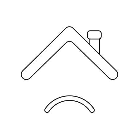 Vector icon concept of roof with sulking mouth. Black outlines. Illustration