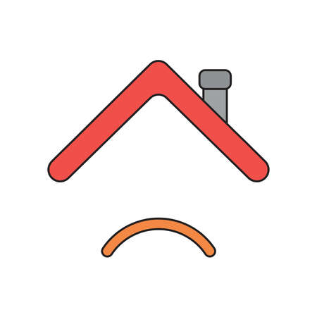 Vector icon concept of house roof with sulking mouth. Black outlines and colored.