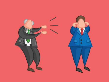 Hand-drawn vector illustration angry boss yelling at businessman worker and he is closing his ears. Colored and colored outlines, red background. Çizim