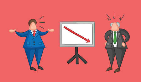 Hand-drawn vector illustration businessman worker showing sales chart arrow moving down and boss is angry. Colored and colored outlines, red background.