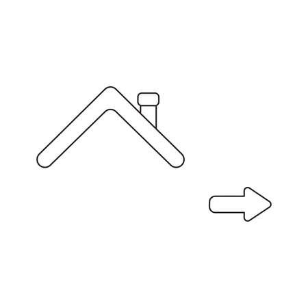 Vector icon concept of roof with arrow pointing right. Black outlines, white background.