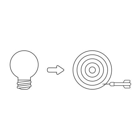 Vector icon concept of light bulb with bulls eye and dart miss the target. Black outlines, white background.
