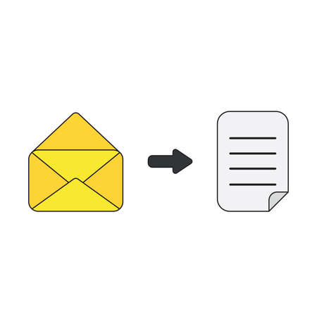 Vector icon concept of opened mail envelope with written paper. Black outlines and colored.
