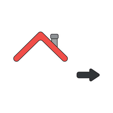 Vector icon concept of house roof with arrow pointing right. Black outlines and colored.
