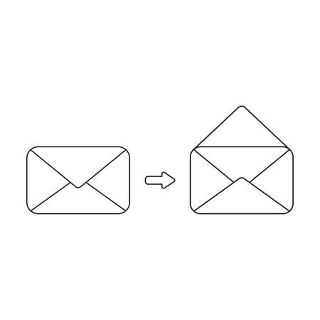 Vector icon concept of closed and opened envelopes. Black outlines, white background.