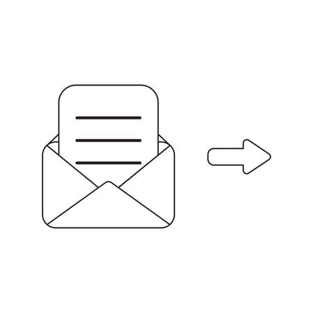 Vector icon concept of envelope with written paper. Black outlines, white background.