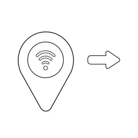 Vector icon concept of map pointer with wifi symbol. Black outlines, white background.