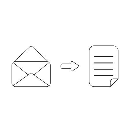 Vector icon concept of opened envelope with written paper. Black outlines, white background. Illustration
