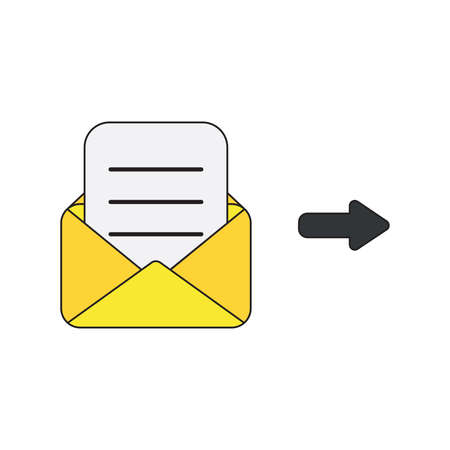 Vector icon concept of mail envelope with written paper. Black outlines and colored. Illustration