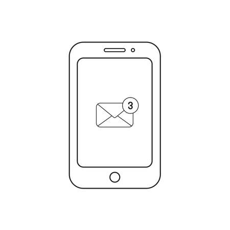 Vector icon concept of envelope with three emails inside smartphone. Black outlines, white background. Illustration