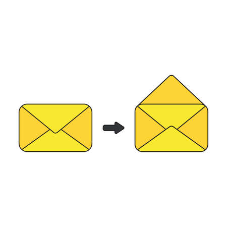 Vector icon concept of closed and opened mail envelopes. Black outlines and colored.
