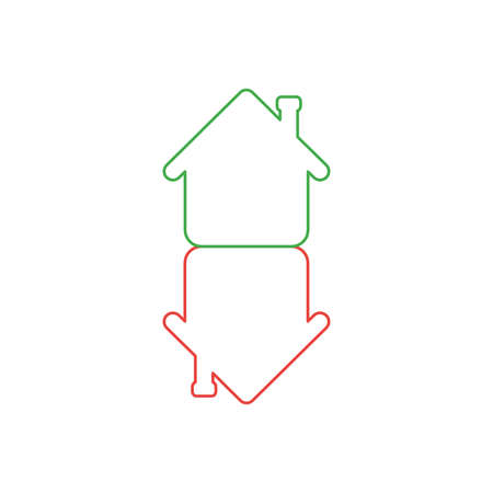 Vector icon concept of two houses in an arrow shape moving up and down. White background and colored outlines.